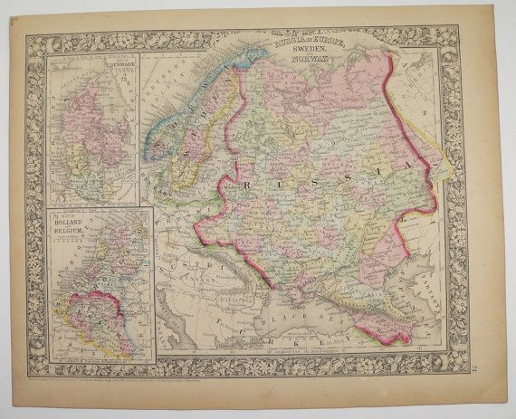 Original Antique Map Of Russia Sweden Map Norway Holland Map - Sweden holland map
