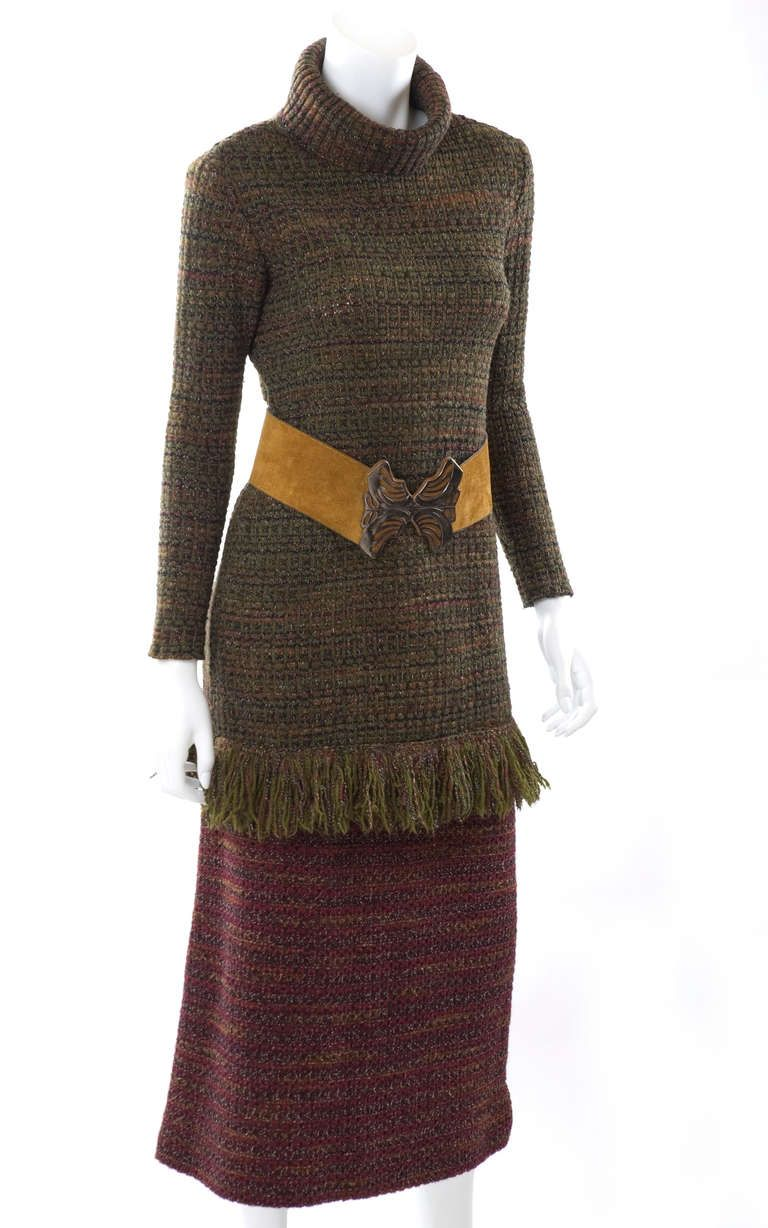 e648f8cb8d7269 60's Yves Saint Laurent Knit Skirt and Sweater with Butterfly Belt ...
