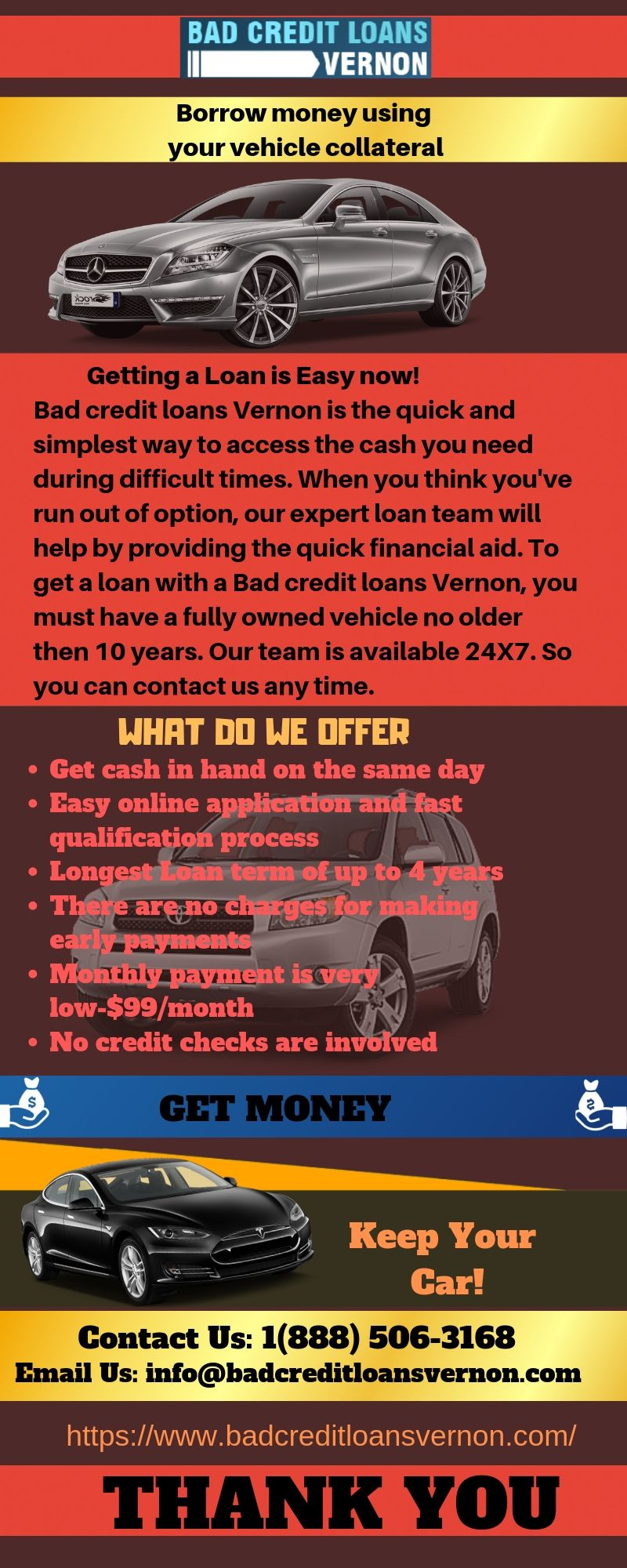 Same Day Approval Car Title Loan In Vernon No Credit Loans Collateral Loans Loans For Bad Credit