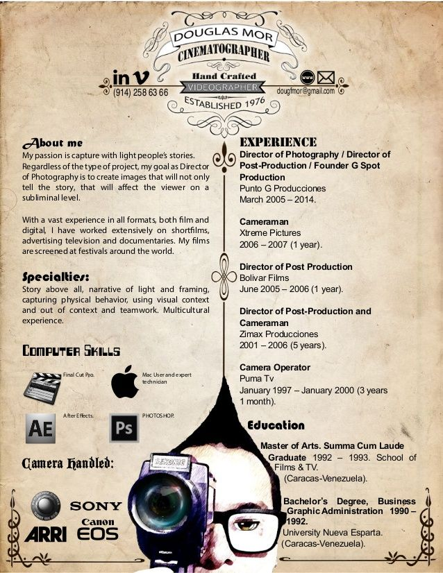 cinematographer curriculum vitae - Pesquisa Google Design Pinterest