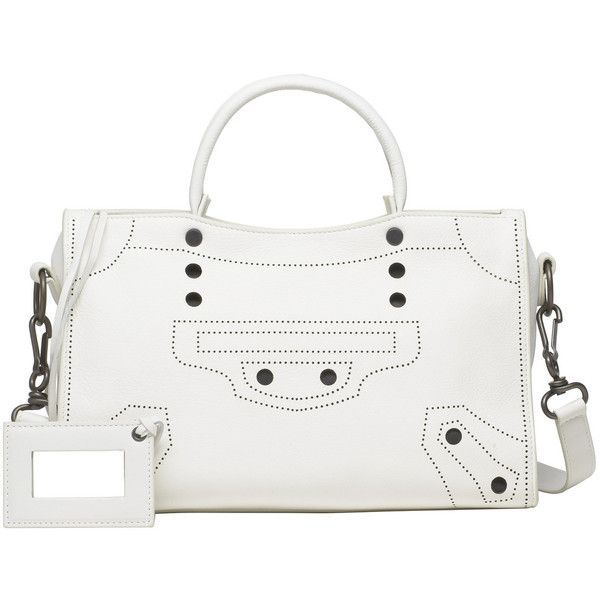 Balenciaga Blackout City S (16.885 DKK) ❤ liked on Polyvore featuring bags, handbags, shoulder bags, white, women bags blackout, strap purse, white purse, white handbags, balenciaga handbags and white shoulder handbags