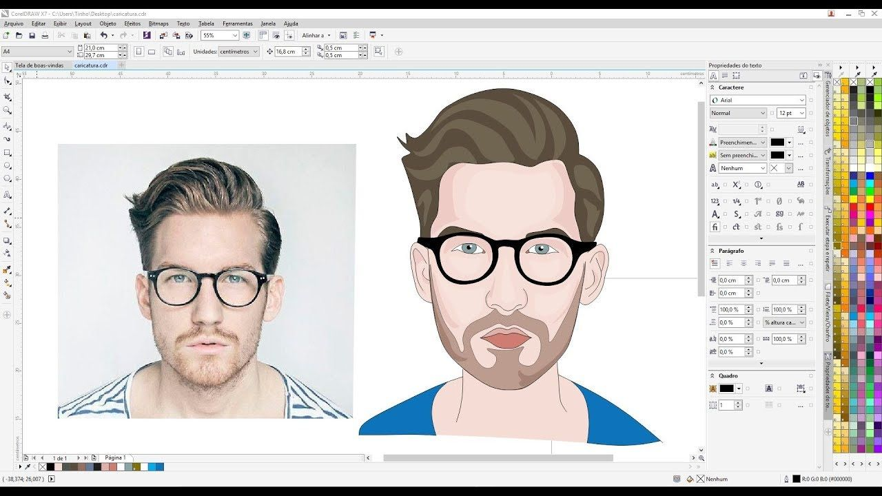 Transformar Foto Em Desenho Caricatura Logomarca Corel Draw Com