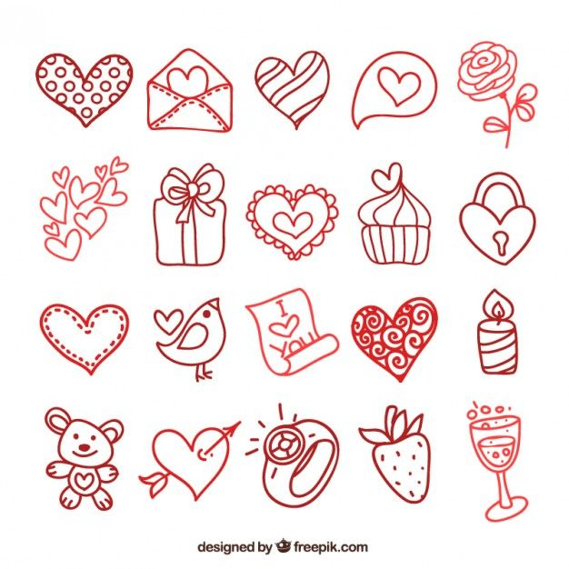 Valentines Day Elements In Doodle Style Free Vector Stickers