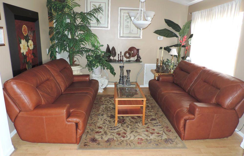 Macyu0027s Ricardo Cognac Leather Dual Power Reclining Sofa Set*WE SHIP  ANYWHERE** #