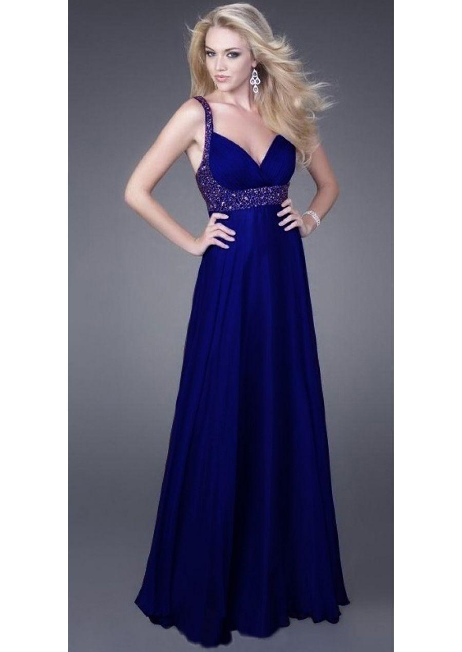 40d7350dc4 Longo Azul-marinho Decote em V Chiffon Sem Costas Vestido Formatura  (3AJ0042)