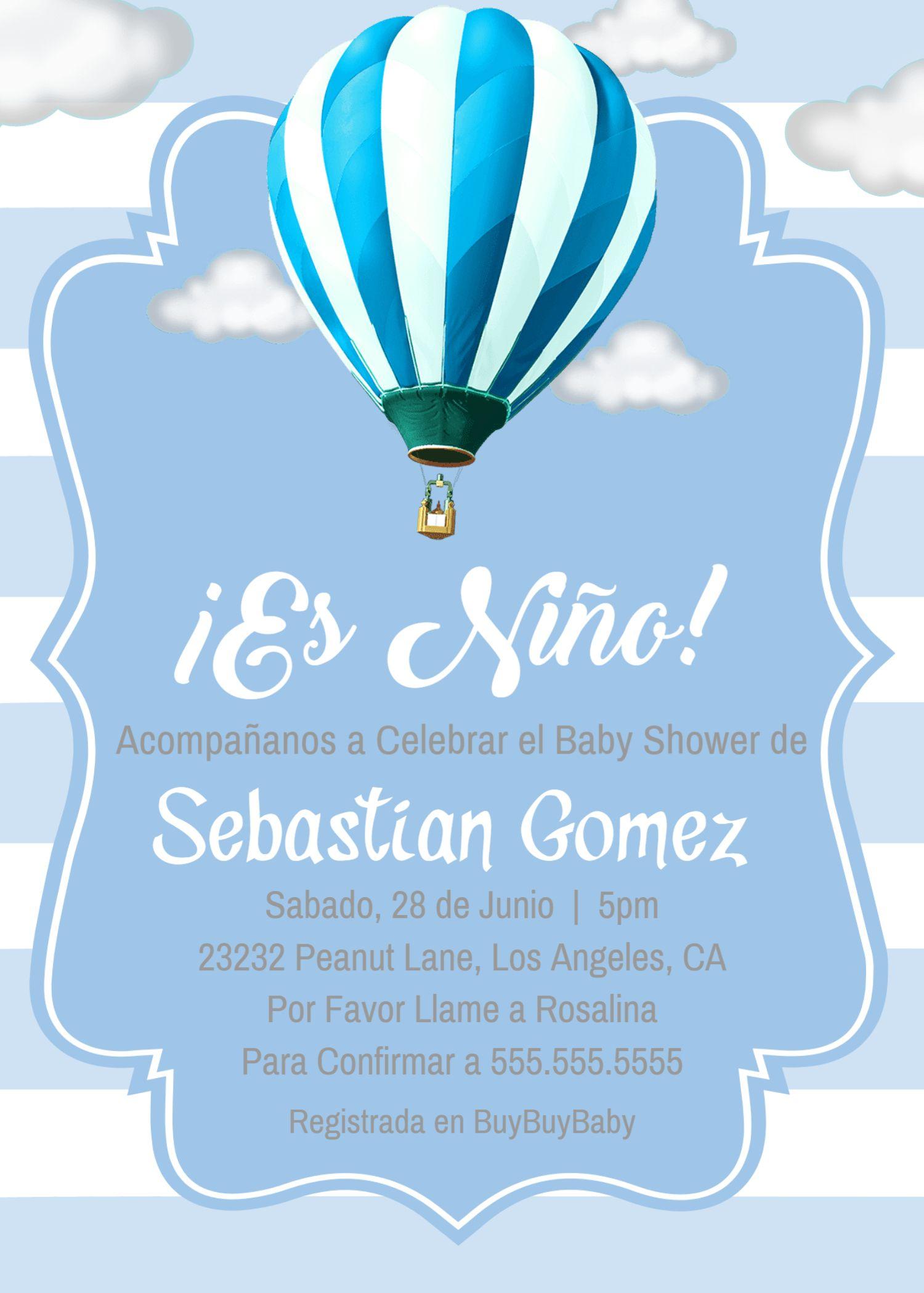 Es Niño Baby Shower Globo Aerostático Invitación Invite