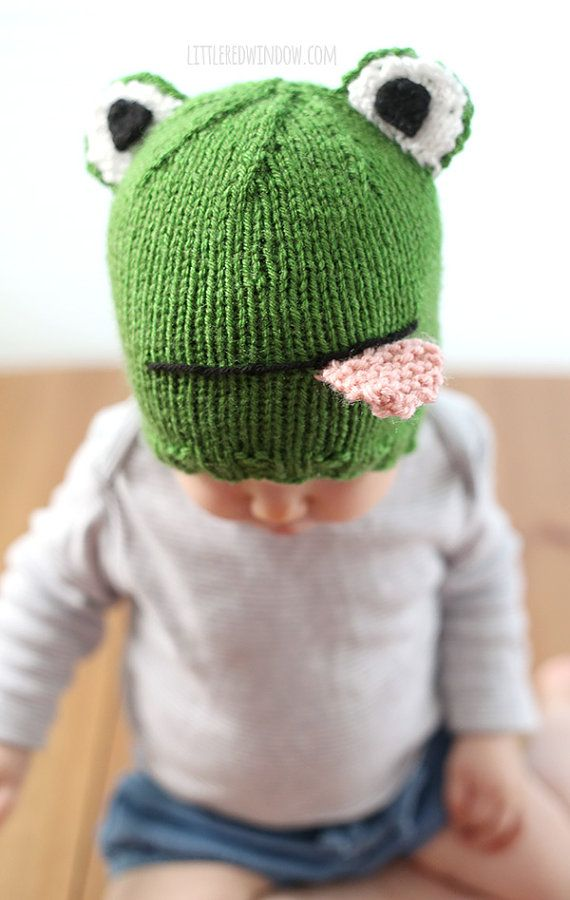 Funny Frog Hat Baby KNITTING PATTERN - knit frog hat pattern, babies ...