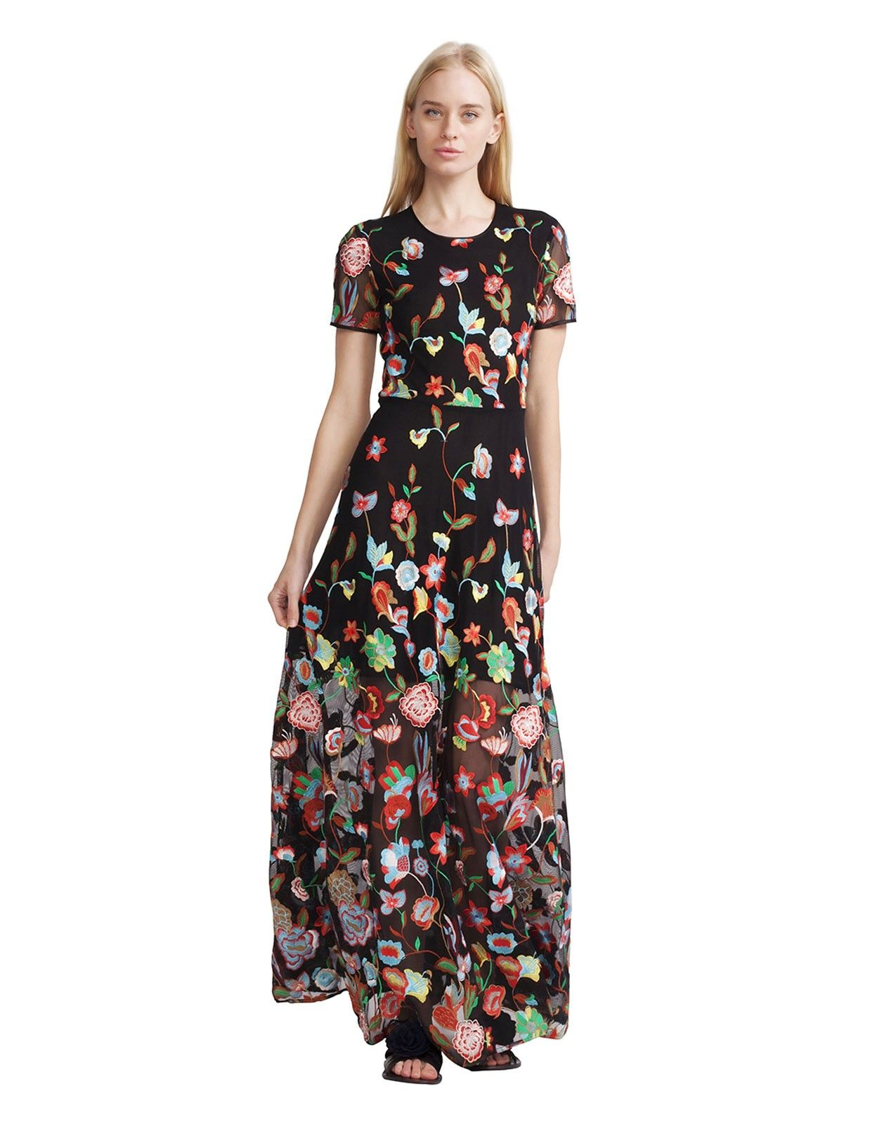 Puefloor length dress in with short sleeves and seam at natural waist