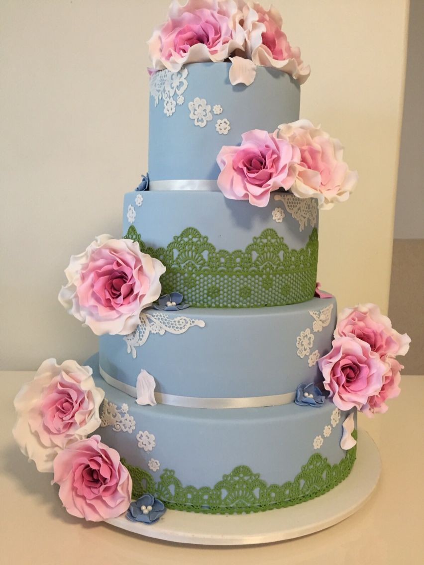 A Beautiful 4 Tier Birthday Cake With Editable Lace Design Inspiration Rose