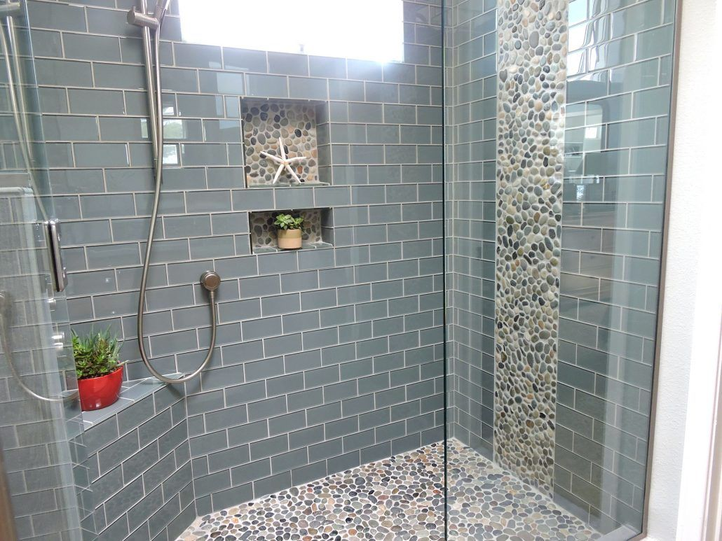 Glass Tile Shower With Pebble Accent And Floor Bathroom Shower Tile Glass Tile Shower Pebble Tile Shower Floor