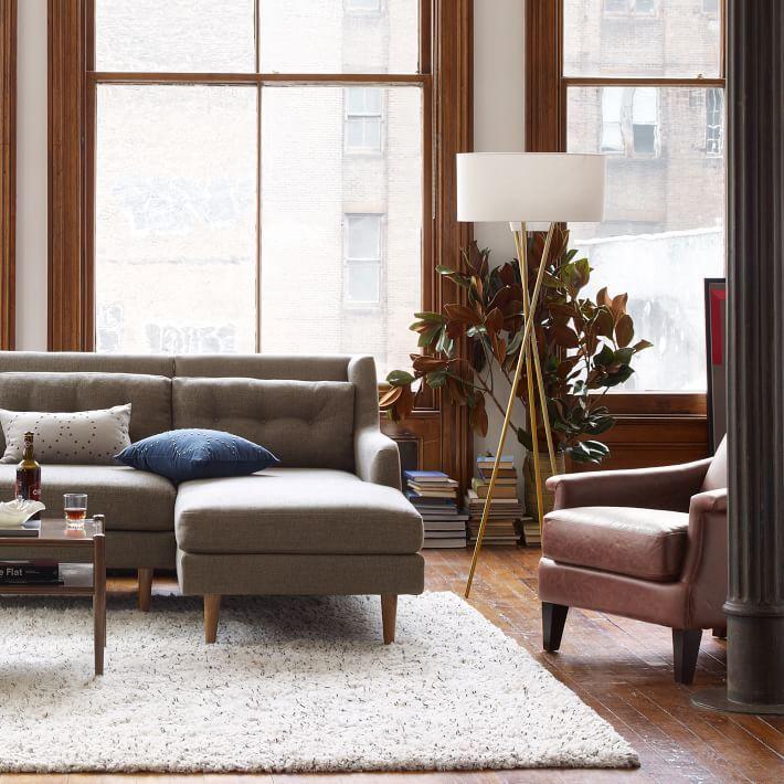 Mid Century Tripod Floor Lamp Antique Brass In 2018 Living Room