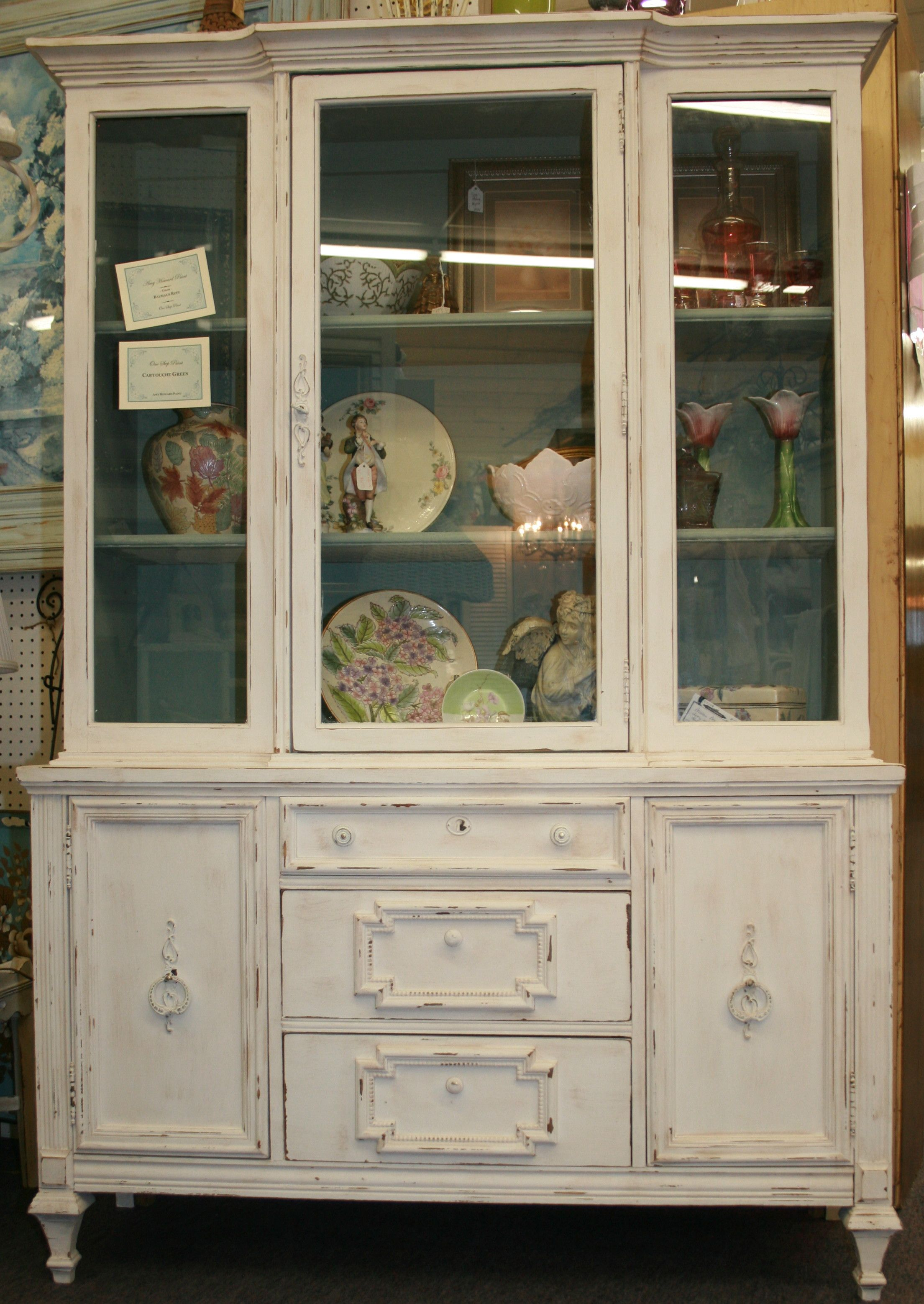 Glass Front Cabinet With Amy Howard One Step Paint In