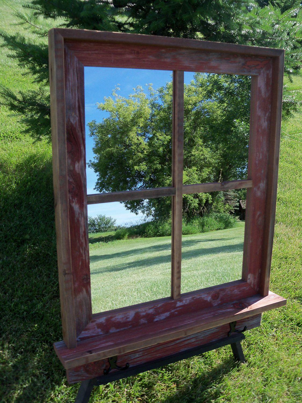 Barnwood Framed Mirror With Shelf And Black Hooks Frame