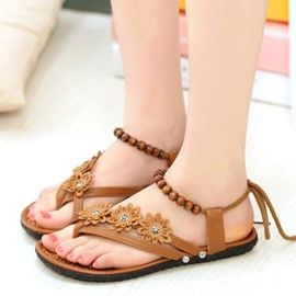 4718315ee146ec Ericdress Bead Toe Ring Lace-Up Flat Sandals