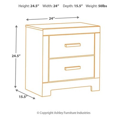 Signature Design by Ashley Harlinton Two Drawer Night Stand Warm