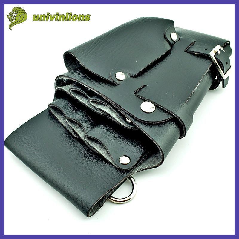 12*22 cm hair style tools leather barber scissor bag salon hairdressing holster pouch case with waist shoulder belt peluqueria
