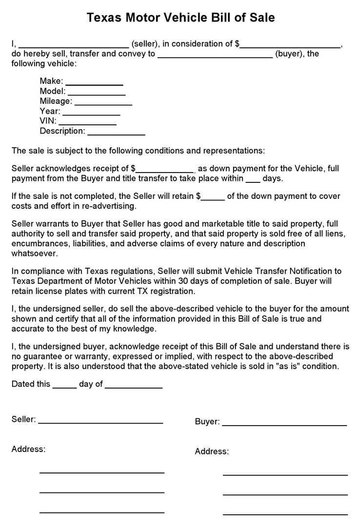 Texas Motor Vehicle Bill Of Sale Form Bill Of Sale Template Bill Of Sale Car Bills
