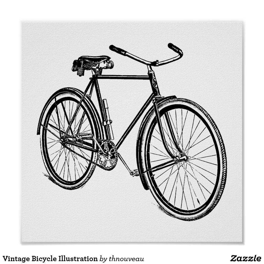 Vintage Bicycle Illustration Poster Zazzle Com In 2020 Bicycle Illustration Vintage Bicycles Bicycle