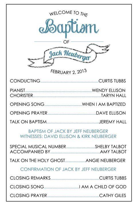 LDS Baptism Program Template   Baptism   Pinterest   Lds baptism ...