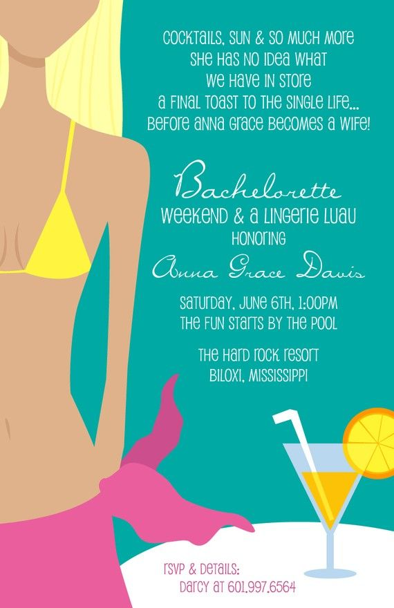 Sweet Wishes 10 Bridal Shower Lingerie Bachelorette Beach Pool – Pool Party Invitation Wording Ideas
