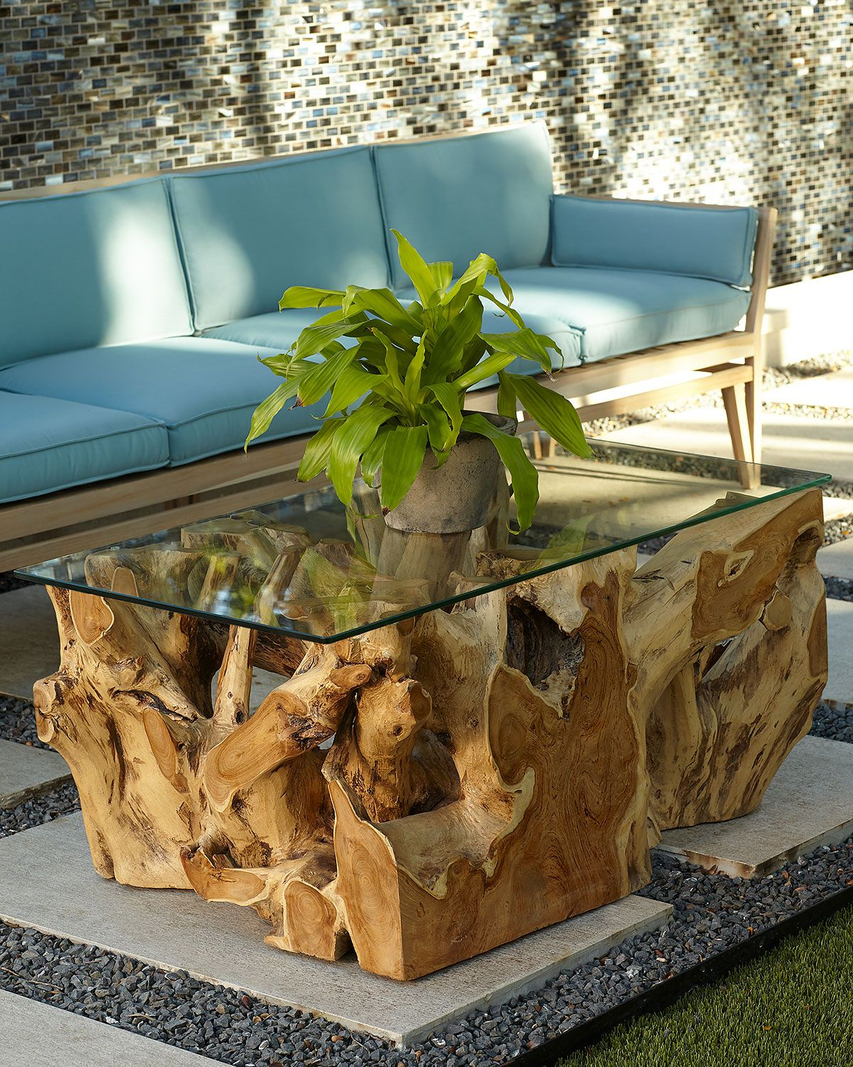 Teak Root Coffee Table With Glass Top In 2020 Coffee Table Simple Coffee Table Garden Coffee Table