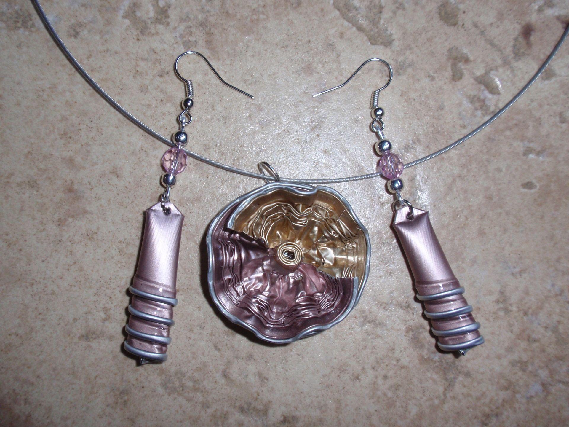 bijoux parure collier boucles d 39 oreilles capsule caf nespresso recycl orange conjuntos. Black Bedroom Furniture Sets. Home Design Ideas