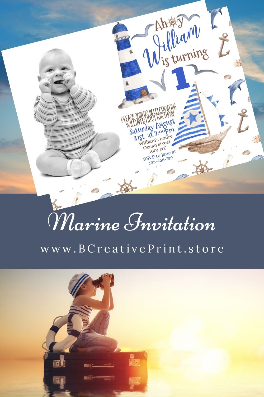 Marine birthday picture invitation i 2020