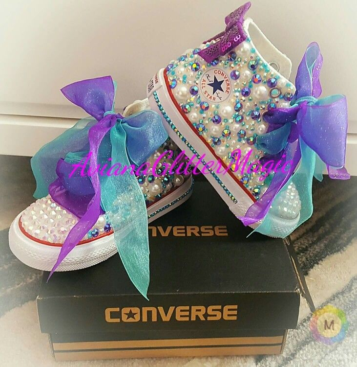 Little Mermaid Bling Rhinestone Converse Shoes White Pearls Purple and Teal  AB Jelly Rhinestones