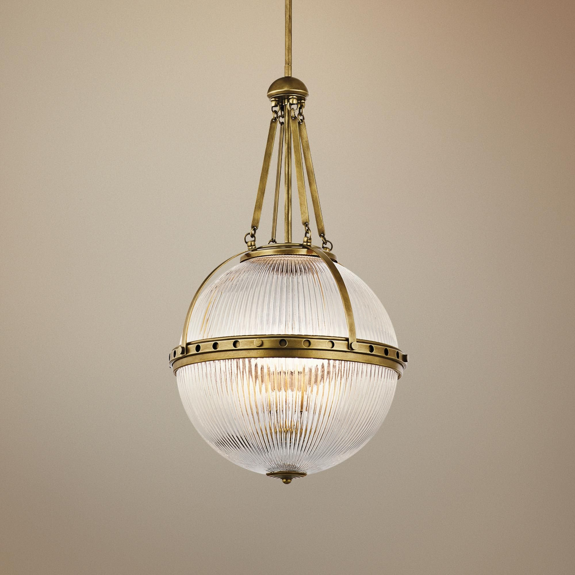 Kichler Aster 15 And One Quarter Inchw Natural Brass Orb 3 Light Pendant Traditional Pendant Lighting 3 Light Pendant Orb Light Fixture