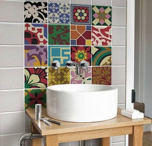 Adesivos home pinterest casas contenedores ba o y ba os for Azulejos adhesivos baratos