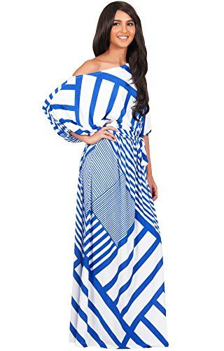 KOH KOH Plus Size Womens Long One Shoulder Chevron Gown Short Sleeve ...