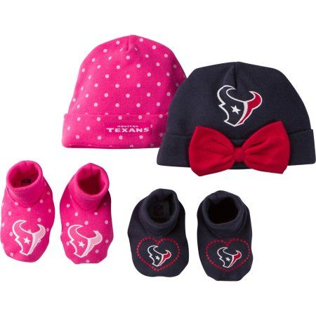 NFL Houston Texans Baby Girls Accessory Set, 2 Caps and 2 Booties, 4-Piece, Infant Boy's, Size: 0 - 6 Months, Blue