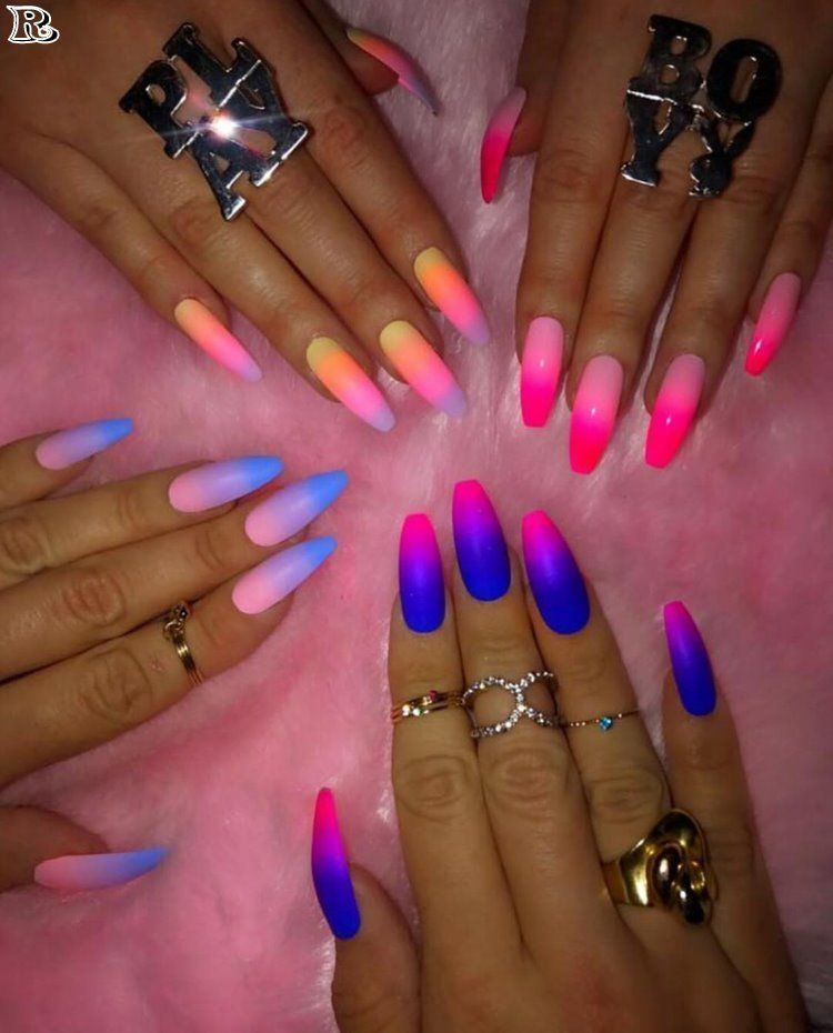 40 Gorgeous Ombre Nail Art Glow Nails Nail Art Ombre Coffin