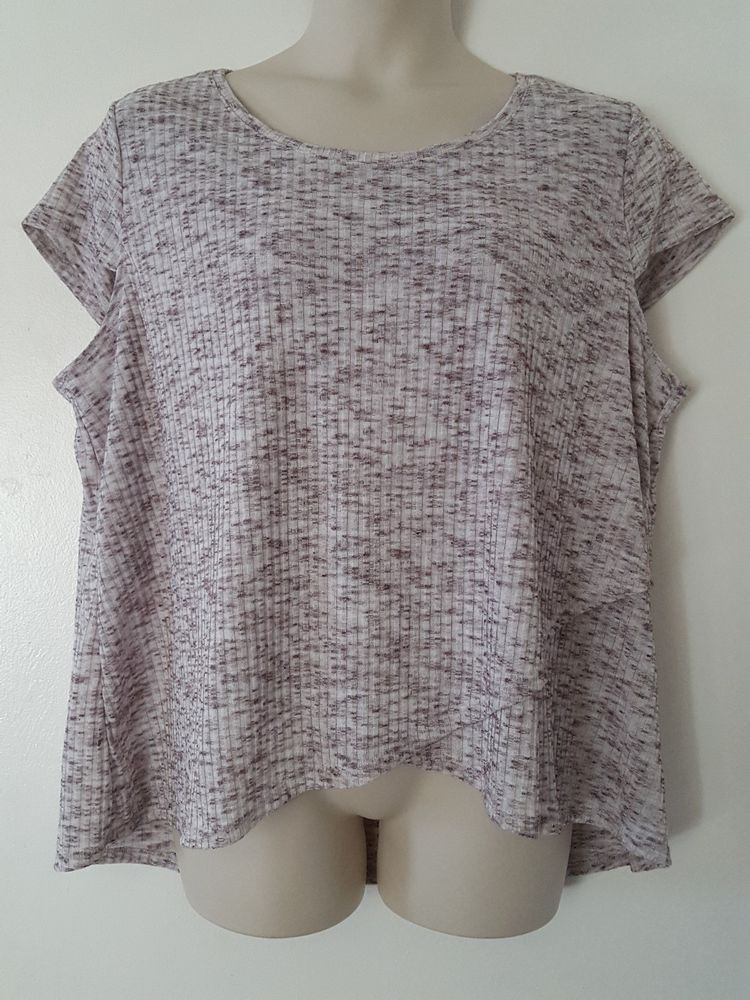 Cato Brown White Heathered Short Cap Sleeve Knit Top Blouse Plus