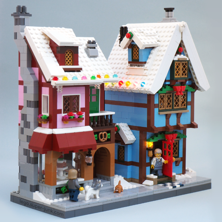 Lego Moc Winter Village Bakery And Cottage By Super Junk Lego Christmas Village Lego Gingerbread House Lego Winter