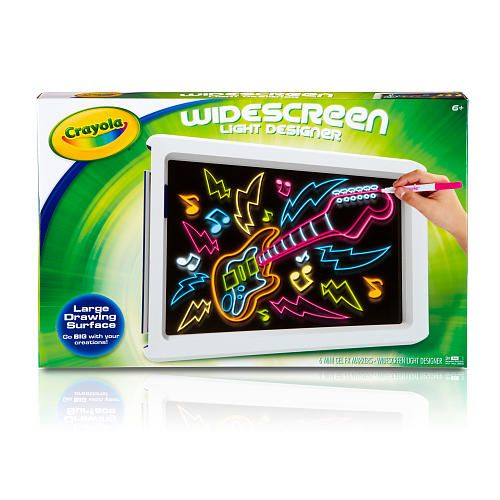 Create attention grabbing designs and then light them up with the Widescreen Light Designer from Crayola. Thanks to the generously-sized screen, you'll have plenty of room to draw, sketch, and doodle. And when you're ready to bring your design to life, you can choose from a range of exciting lighting effects. Designed for ages six and up, the Widescreen Light Designer includes a built-in easel, and six markers.  Large, Reusable Drawing Surface<br><br>The Widescreen Light Designer gives you…