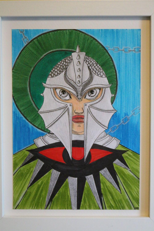 Illustration fanart Dragon Age Inquisition, Inquisitrice Raghear Trevelyan, feutres et crayons de couleurs de la boutique SwordandStar sur Etsy
