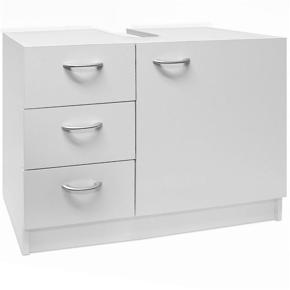 white under sink bathroom basin storage unit cabinet 3 drawers from ...