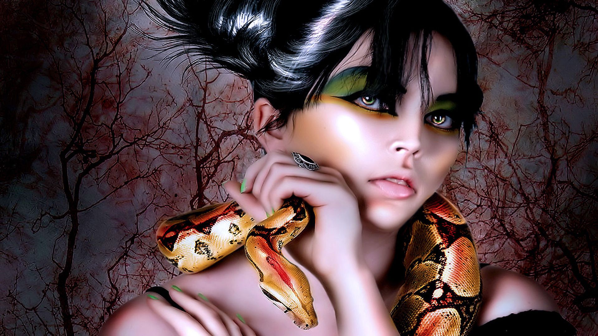 Mue fantasy women wallpaper beautiful fantasy women wallpapers girl makeup snake around his neck fantasy hd wallpapers voltagebd Choice Image