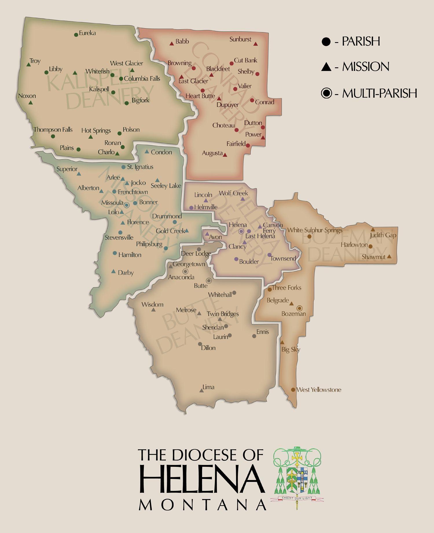 Diocese of Helena, Montana - Map | Montana | Helena montana, Montana ...