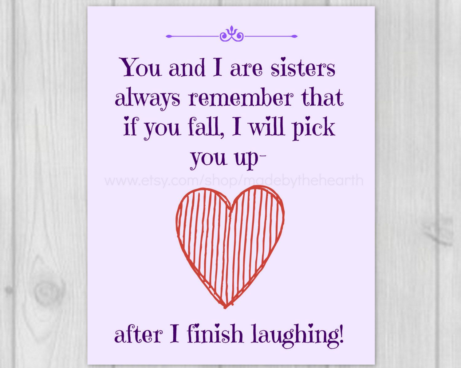 Sister Quote Sister Gifts Printable Art by