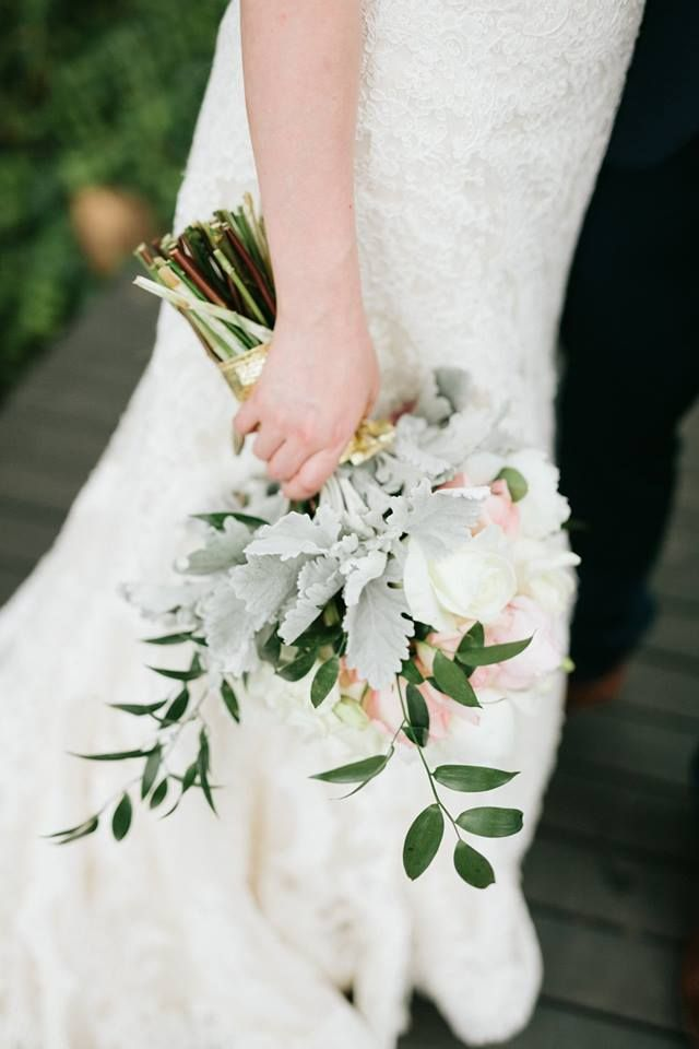 Ivory And Blush Wedding Bouquet Arranged With Italian Ruscus A