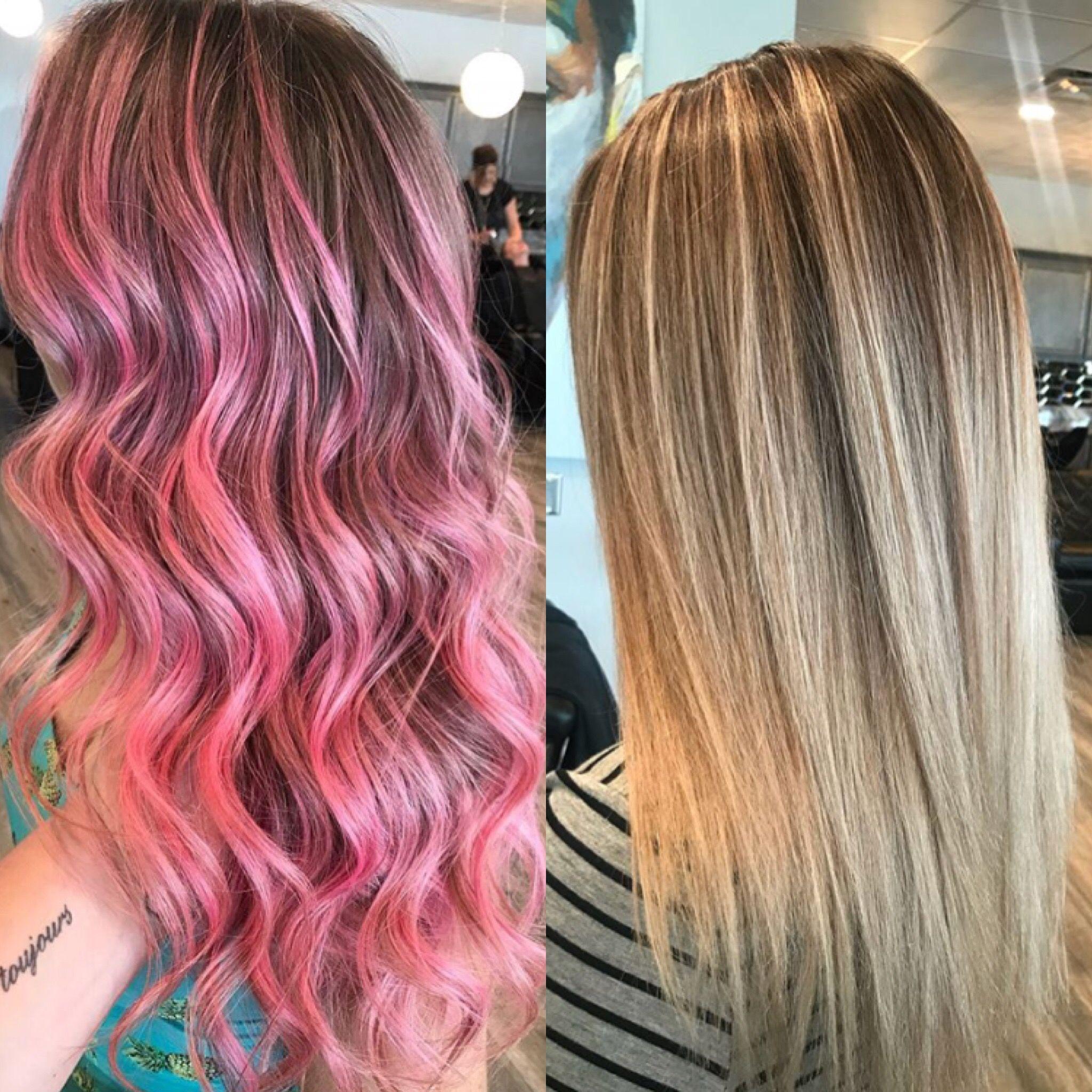 Hair Transformation Wow Pink Hair To Blonde Hair Artist Arielle Transformation Wow Makeove Hair Transformation Beliage Hair Blonde Hair Transformations