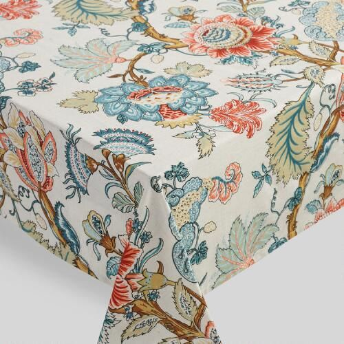 Blue Palampore Anika Tablecloth Table Cloth Red Buffet Linen