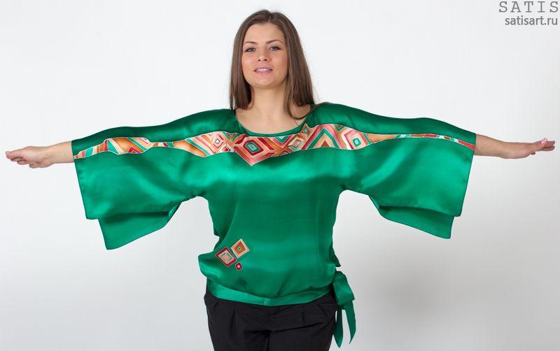 eef3b1513e0 Блуза вечерняя из натурального шелка Арабеска - купить в интернет магазине  Сатис
