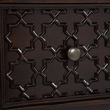 Classic inspired ironwork made contemporary by trelliswork overlaid on woodwork gives our Moroccan bedroom collection dimension. Moroccan Dresser 6 Drawer, $1,199.00
