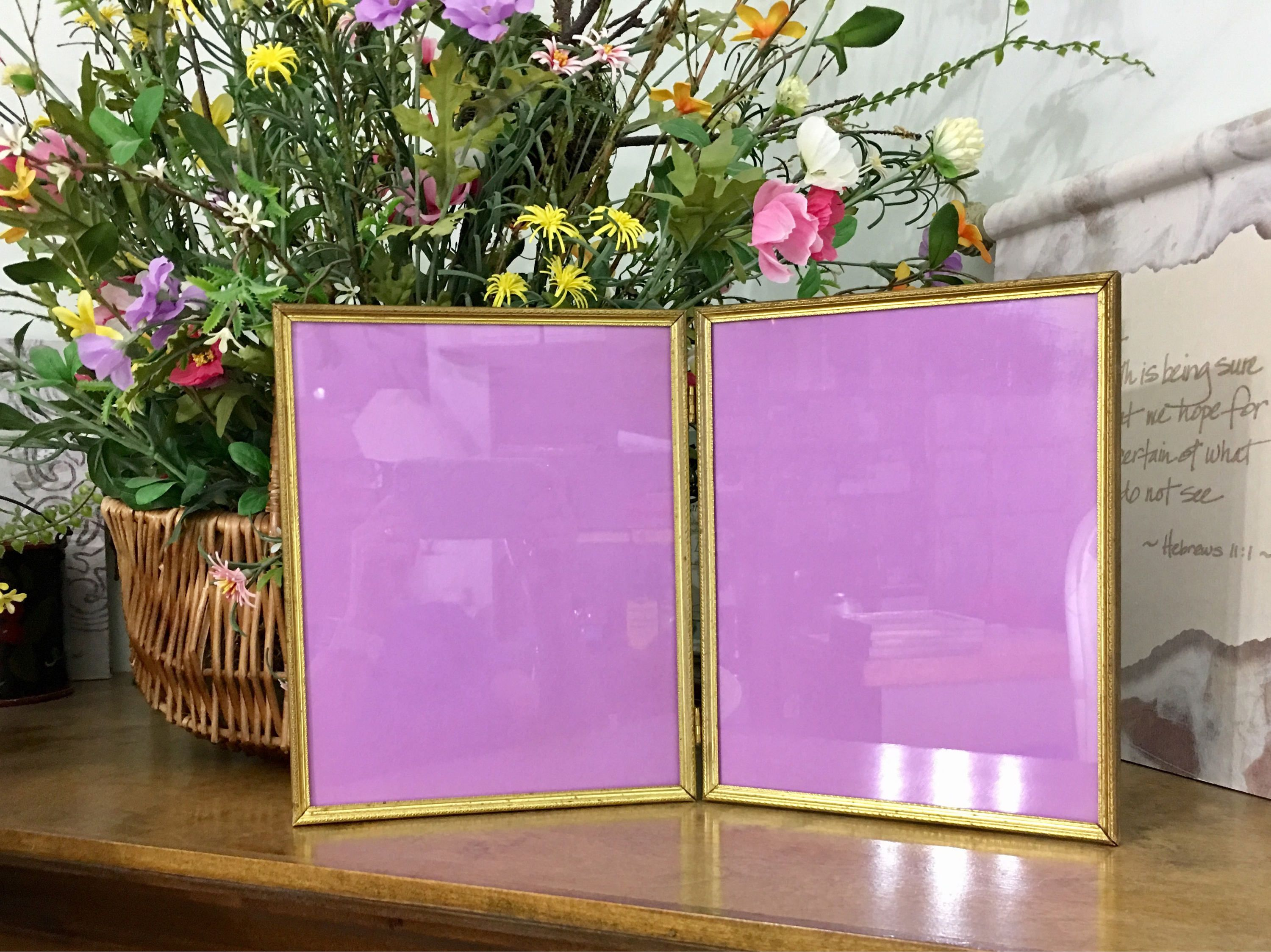Vintage 8x10 Double Hinged Embossed Ornate Gold Metal Picture Frame ...