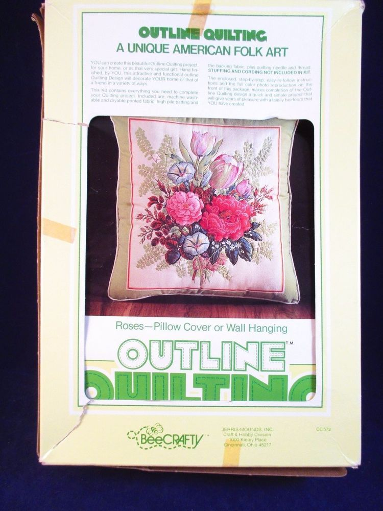 Cover Up Rose Outline: Roses Outline Quilting Kit Pillow Cover Wall Hanging Bee
