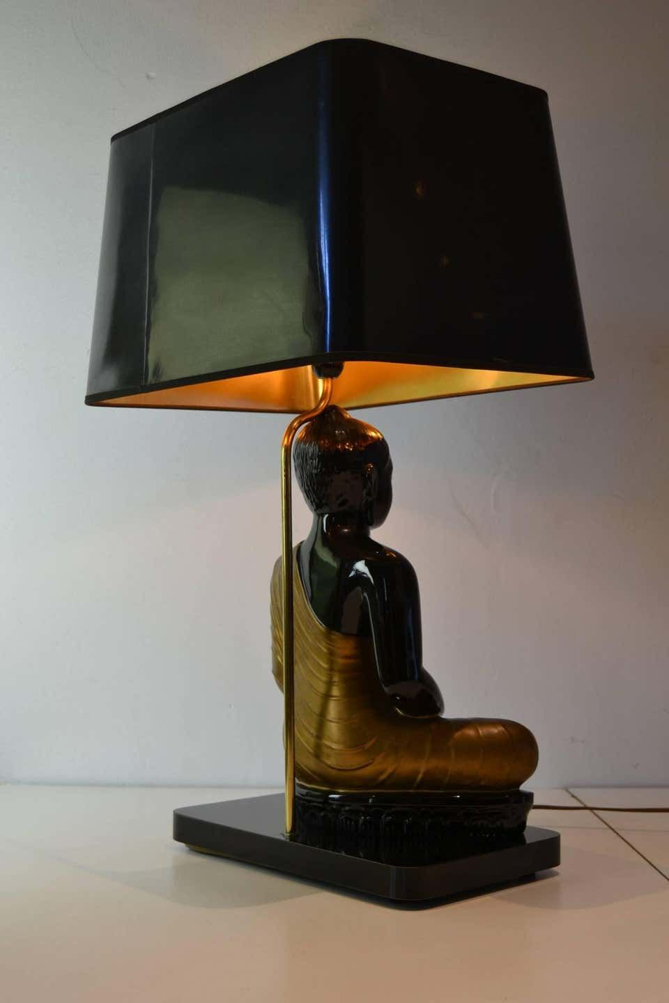Large Buddha Table Lamp Black And Gold Europe 1970s Table Lamp Unusual Table Lamps Lamp