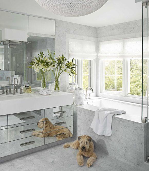 Interior House Beautiful Bathrooms a modern white bathroom bathrooms carrara marble and mirror add glamour to the bath and
